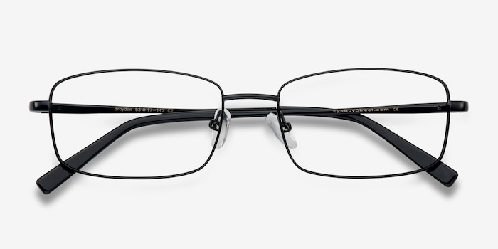 Braydon Black Metal Eyeglass Frames from EyeBuyDirect, Closed View
