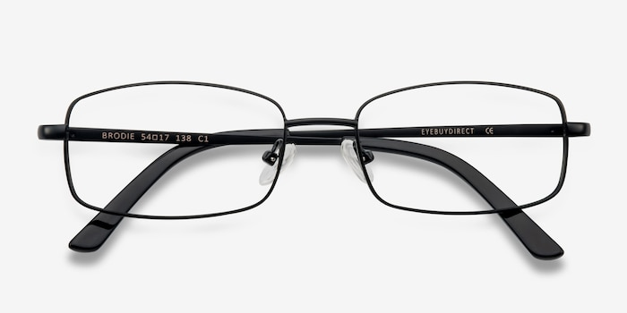 Brodie Black Metal Eyeglass Frames from EyeBuyDirect, Closed View