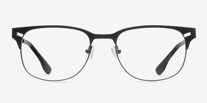 Merrion Black Metal Eyeglass Frames from EyeBuyDirect, Front View