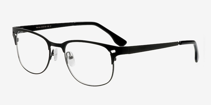 Merrion Black Metal Eyeglass Frames from EyeBuyDirect, Angle View