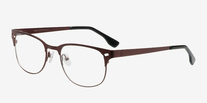 Merrion Coffee Metal Eyeglass Frames from EyeBuyDirect, Angle View
