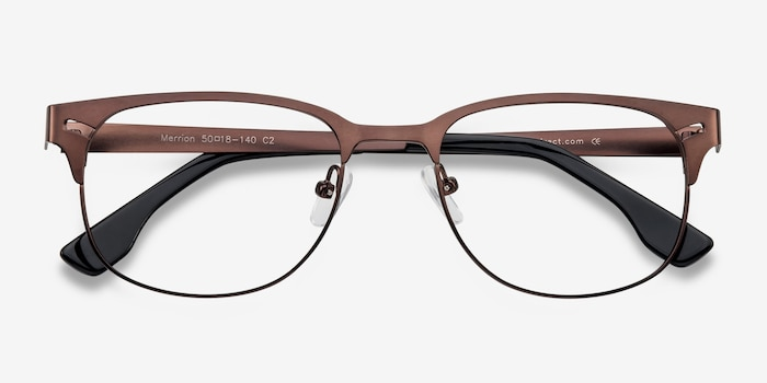 Merrion Coffee Metal Eyeglass Frames from EyeBuyDirect, Closed View
