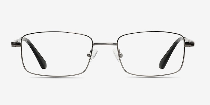 Philadelphia Gunmetal Metal Eyeglass Frames from EyeBuyDirect, Front View