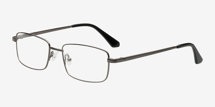 Philadelphia Gunmetal Metal Eyeglass Frames from EyeBuyDirect, Angle View