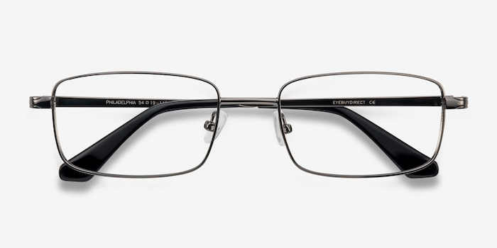 Philadelphia Gunmetal Metal Eyeglass Frames from EyeBuyDirect, Closed View