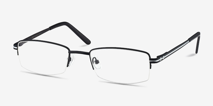 Brian Black Metal Eyeglass Frames from EyeBuyDirect, Angle View