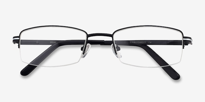 Brian Black Metal Eyeglass Frames from EyeBuyDirect, Closed View