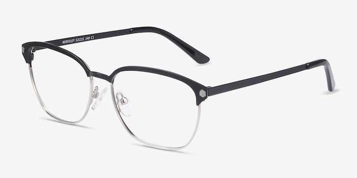 Berkeley Black Metal Eyeglass Frames from EyeBuyDirect, Angle View
