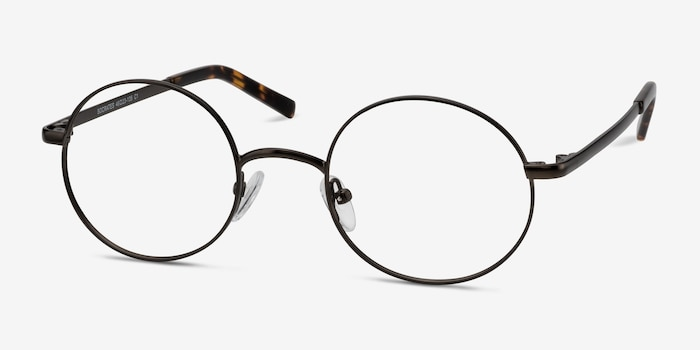 Socrates Gunmetal Metal Eyeglass Frames from EyeBuyDirect, Angle View