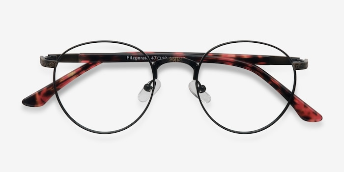 Fitzgerald Matte Black and Tortoise Metal Eyeglass Frames from EyeBuyDirect, Closed View