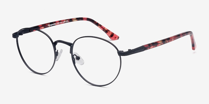 Fitzgerald  Black  Metal Eyeglass Frames from EyeBuyDirect, Angle View