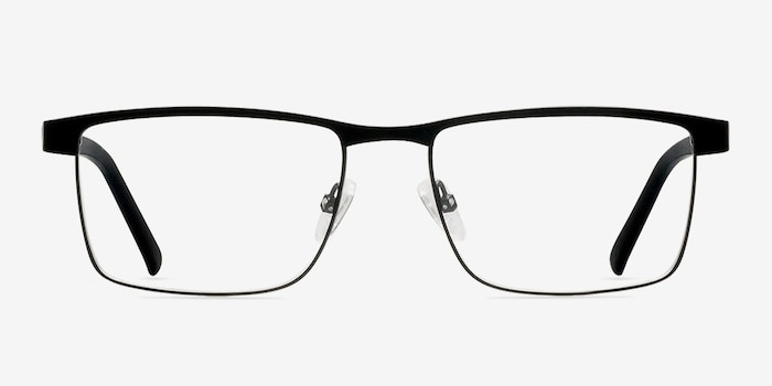 Time Square Black Metal Eyeglass Frames from EyeBuyDirect, Front View