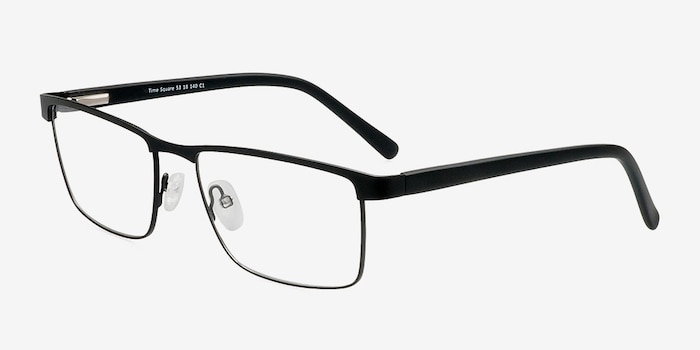 Time Square Black Metal Eyeglass Frames from EyeBuyDirect, Angle View