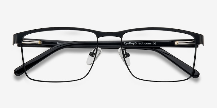 Time Square Black Metal Eyeglass Frames from EyeBuyDirect, Closed View