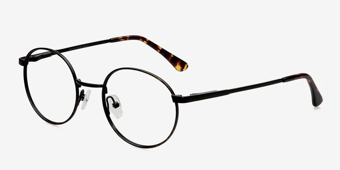 Santa Fe Black/Brown Metal Eyeglass Frames from EyeBuyDirect, Angle View