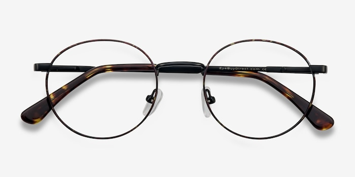Santa Fe Black/Brown Metal Eyeglass Frames from EyeBuyDirect, Closed View