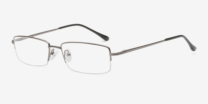 Minneapolis Gunmetal Metal Eyeglass Frames from EyeBuyDirect, Angle View