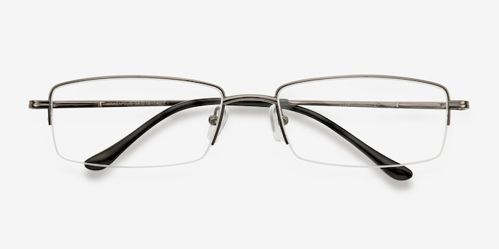 Minneapolis Gunmetal Metal Eyeglass Frames from EyeBuyDirect, Closed View