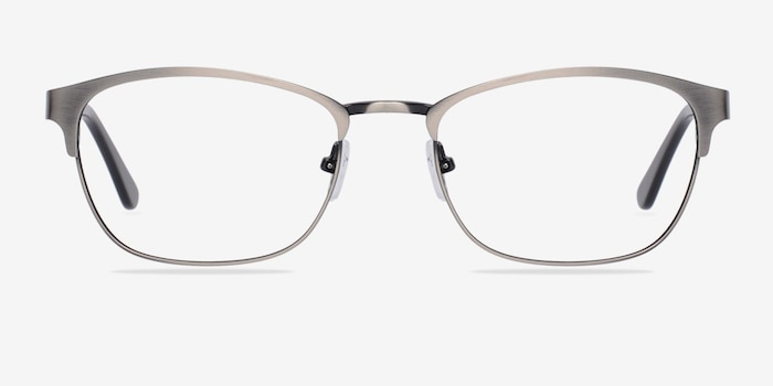 Upper East Gunmetal Metal Eyeglass Frames from EyeBuyDirect, Front View
