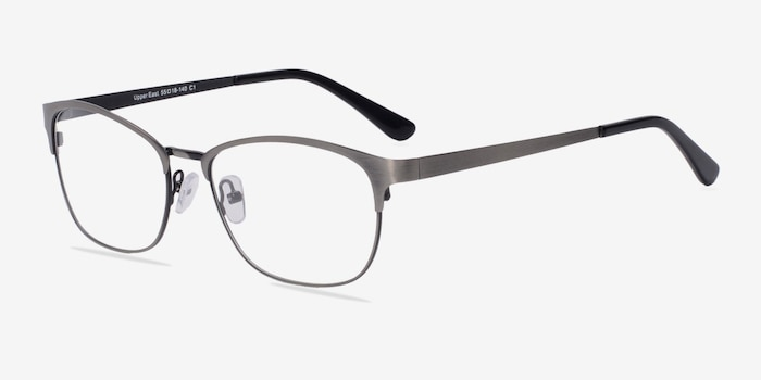 Upper East Gunmetal Metal Eyeglass Frames from EyeBuyDirect, Angle View
