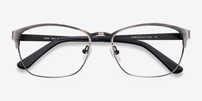 Upper East Gunmetal Metal Eyeglass Frames from EyeBuyDirect, Closed View