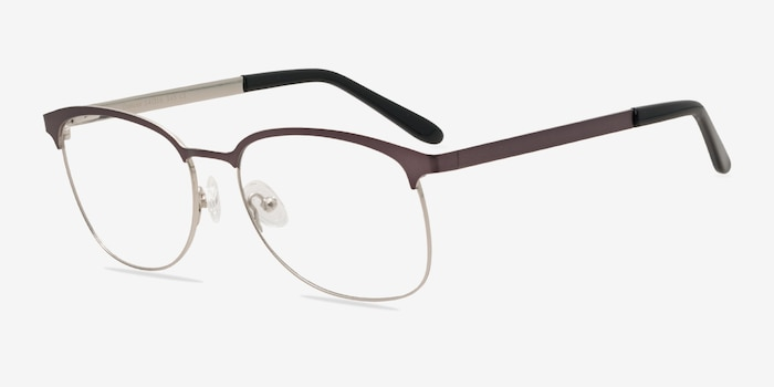 Dancer Gunmetal/Silver Metal Eyeglass Frames from EyeBuyDirect, Angle View