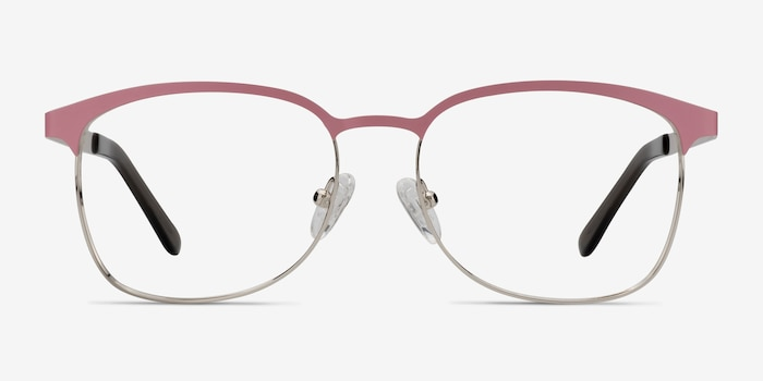 Dancer Pink/Silver Metal Eyeglass Frames from EyeBuyDirect, Front View