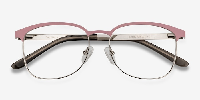 Dancer Pink/Silver Metal Eyeglass Frames from EyeBuyDirect, Closed View