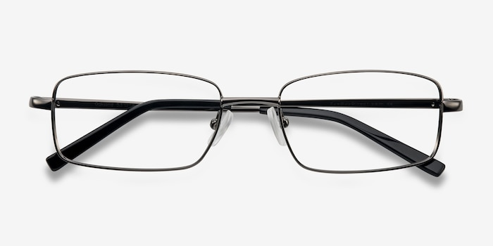 Oakland Gunmetal Metal Eyeglass Frames from EyeBuyDirect, Closed View