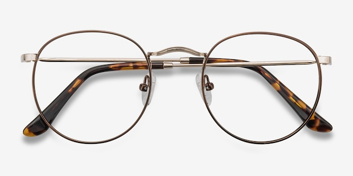 Daydream Brown/Golden Metal Eyeglass Frames from EyeBuyDirect, Closed View