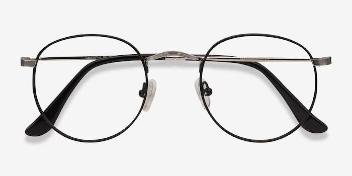 Daydream Black Silver Metal Eyeglass Frames from EyeBuyDirect, Closed View