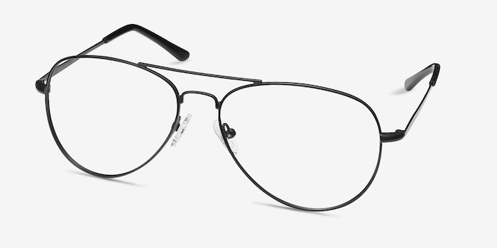 Nantes Black Metal Eyeglass Frames from EyeBuyDirect, Angle View