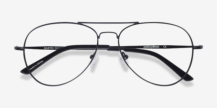 Nantes Black Metal Eyeglass Frames from EyeBuyDirect, Closed View