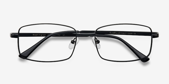 Washington Black Metal Eyeglass Frames from EyeBuyDirect, Closed View
