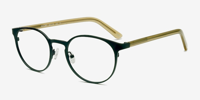 Outline Black Steel/Acetate Acetate Eyeglass Frames from EyeBuyDirect, Angle View
