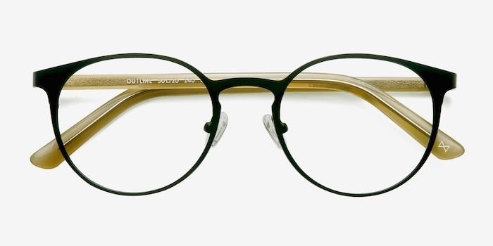 Outline Black Steel/Acetate Metal Eyeglass Frames from EyeBuyDirect, Closed View