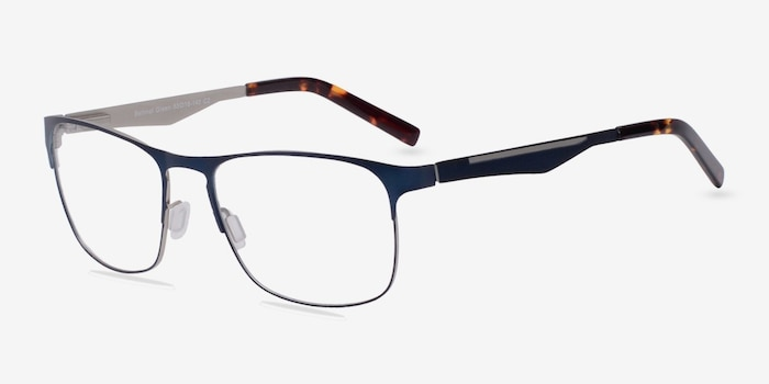 Bethnal Green Navy Metal Eyeglass Frames from EyeBuyDirect, Angle View