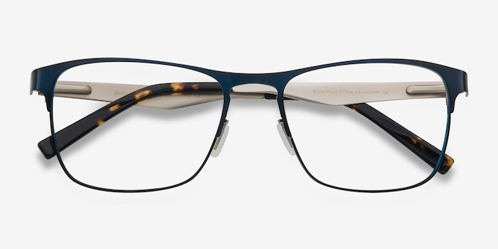 Bethnal Green Navy Metal Eyeglass Frames from EyeBuyDirect, Closed View