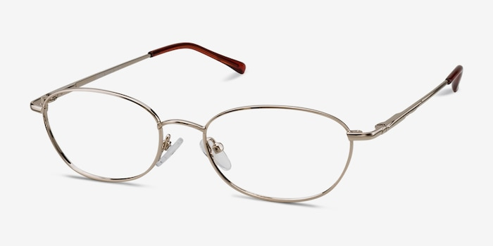 Prima Silver Metal Eyeglass Frames from EyeBuyDirect, Angle View