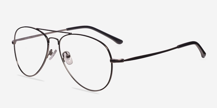 Nantes Silver Metal Eyeglass Frames from EyeBuyDirect, Angle View