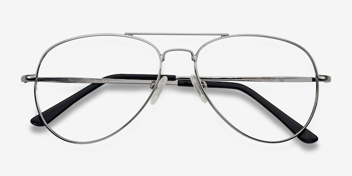 Nantes Silver Metal Eyeglass Frames from EyeBuyDirect, Closed View