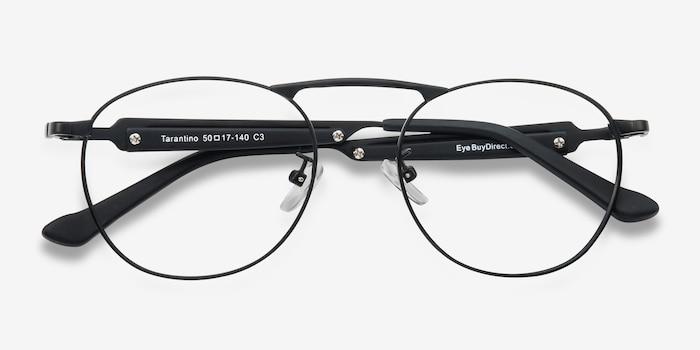 Tarantino Matte Black Metal Eyeglass Frames from EyeBuyDirect, Closed View