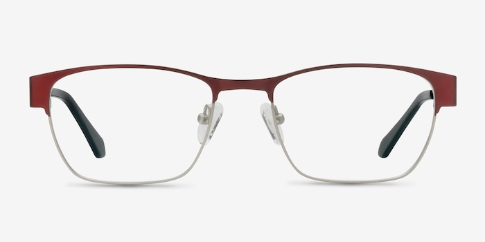 Admire Matte Burgundy Metal Eyeglass Frames from EyeBuyDirect, Front View