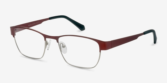 Admire Matte Burgundy Metal Eyeglass Frames from EyeBuyDirect, Angle View