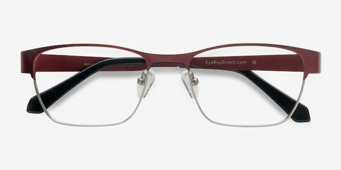 Admire Matte Burgundy Metal Eyeglass Frames from EyeBuyDirect, Closed View