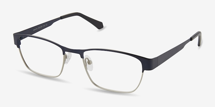 Admire Navy Metal Eyeglass Frames from EyeBuyDirect, Angle View
