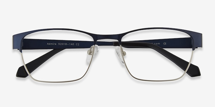 Admire Navy Metal Eyeglass Frames from EyeBuyDirect, Closed View