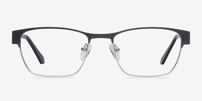 Admire Black Silver Metal Eyeglass Frames from EyeBuyDirect, Front View