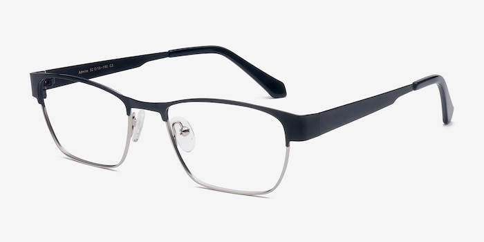 Admire Black Silver Metal Eyeglass Frames from EyeBuyDirect, Angle View