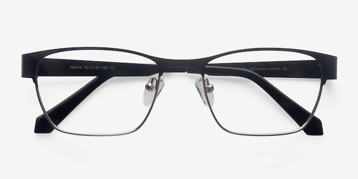 Admire Black Silver Metal Eyeglass Frames from EyeBuyDirect, Closed View